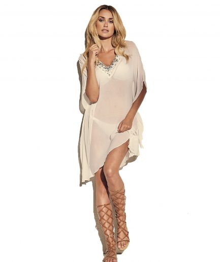 Flattering ivory V-neck sequin tunic with short sleeves